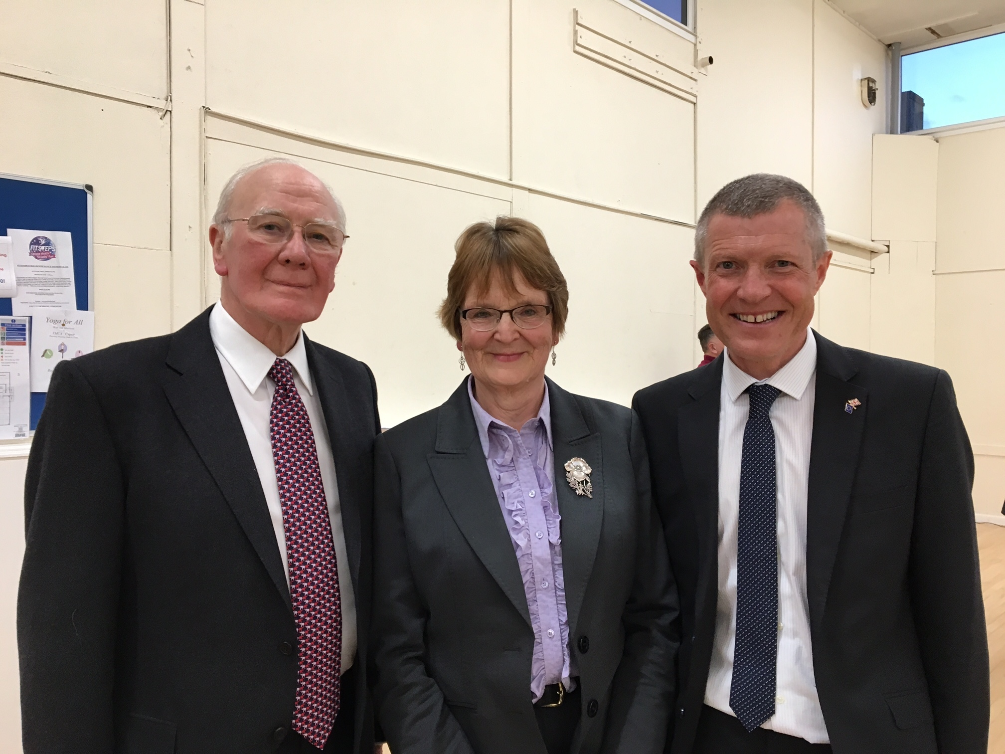 North East Fife Liberal Democrat candidate Elizabeth Riches with Scottish leader Willie Rennie and former North East Fife MP Sir Menzies Campbell