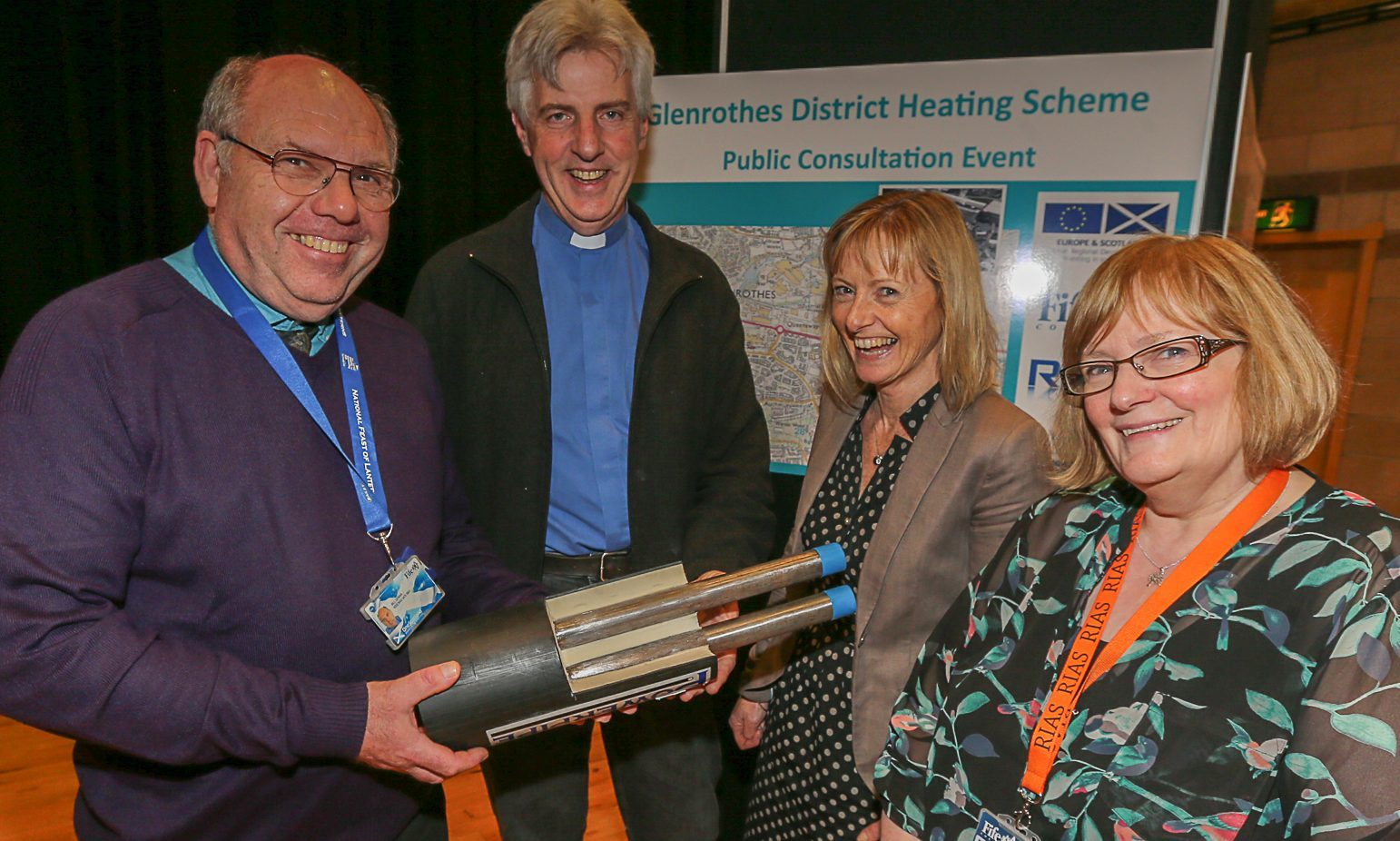 Pictured at one of the recent consultation events were Bill Dewar, Fife Council lead professional, Rev Alan Kimmitt, Barbara Whiting, Fife Council lead professional, and Martha McLachlan, Fife Council energy promotion and development officer.