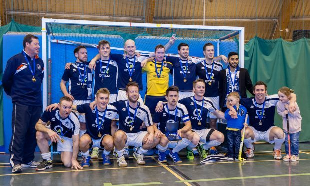 The team after being crowned Scottish Indoor hockey champions in February.