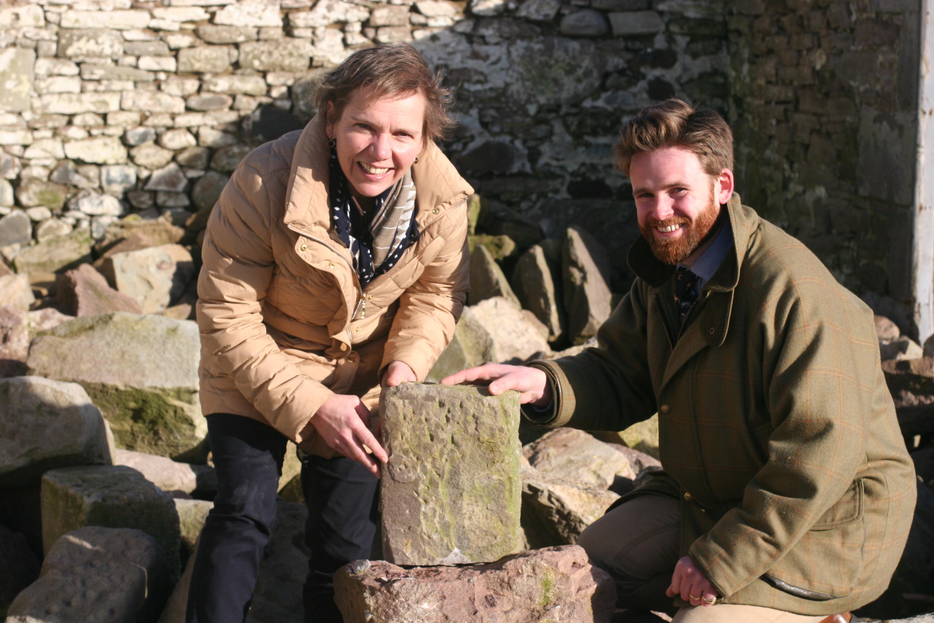 Hazel Peplinski and Chris Gordon (Scone Palace estate surveyor) source sandstone for the Stone of Destiny trophy.