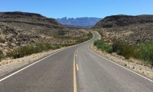 The road heading south through the Big Bend National Park in Texas, heading towards the Mexican border