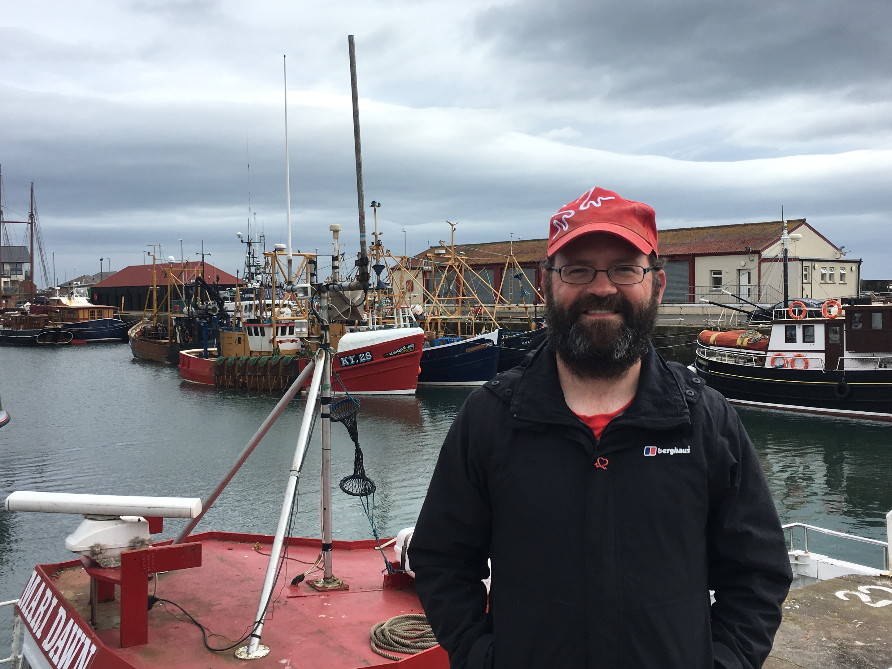 Kieran Sandwell, who is walking the coast of Britain, at Arbroath Harbour