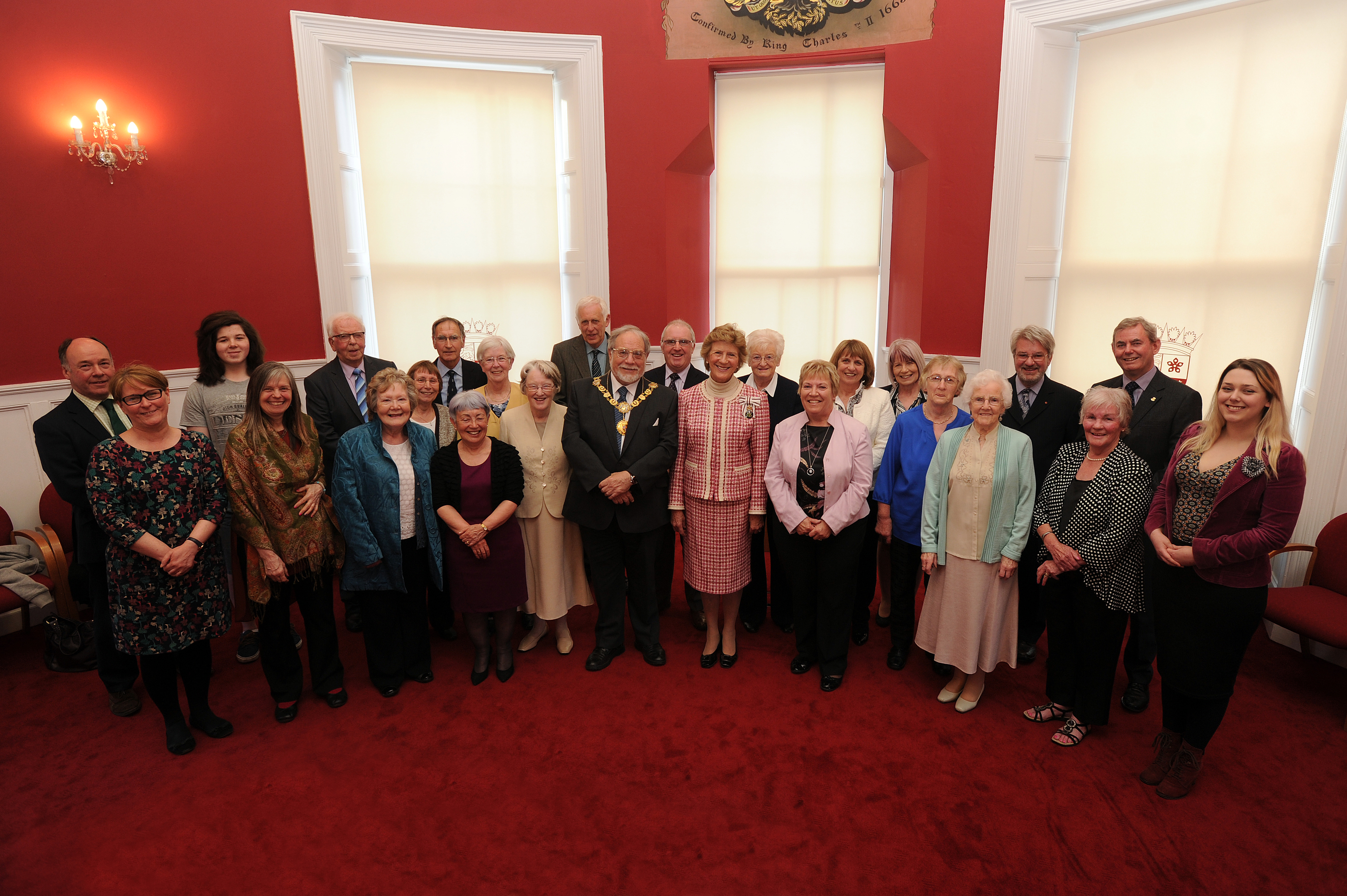 Lord Lieutenant Mrs Osborne and Angus Provost Alex King with DD8 Music and Lippen Care representatives.