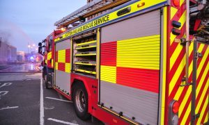 Firefighters battle blaze at abandoned factory