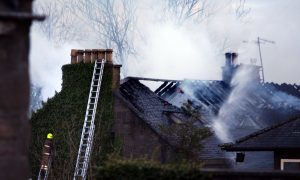 The building's roof was badly damaged