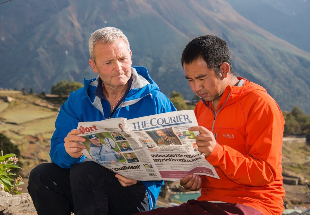 James Lamb and Tashi Lama in the village of Phortse in Nepal.