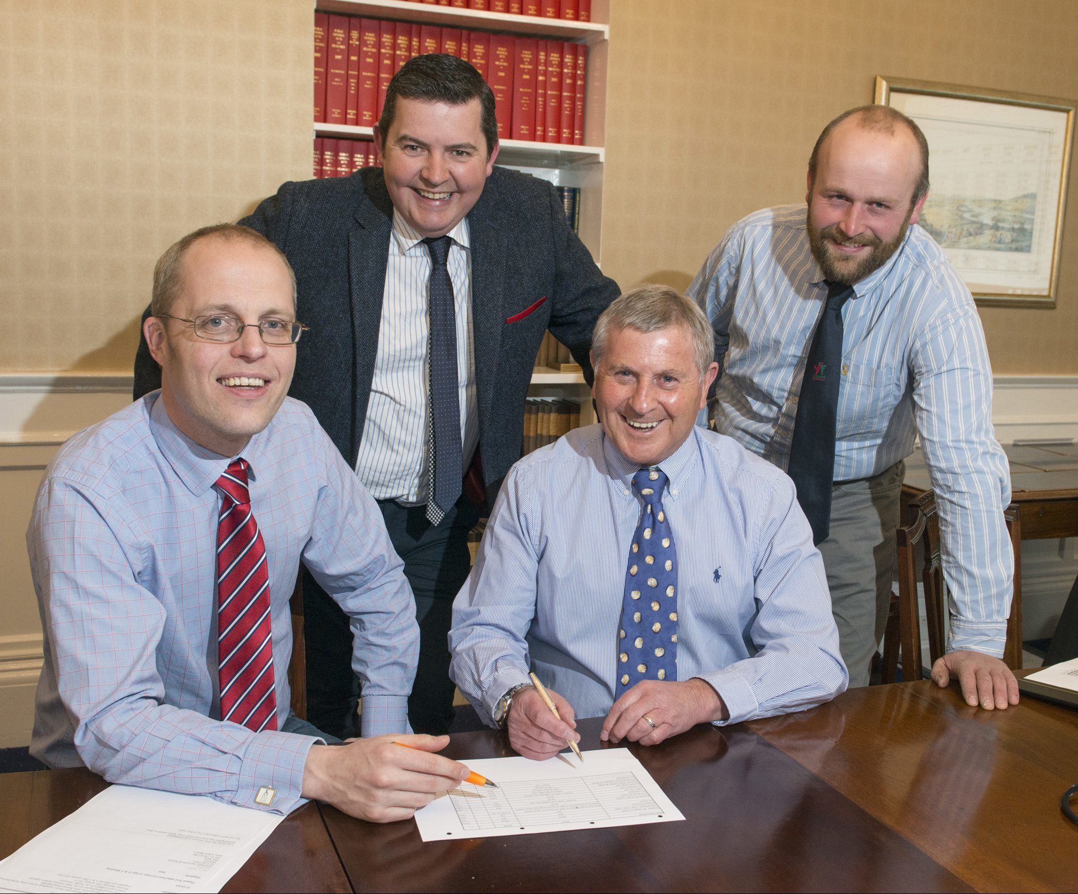 Perthshire Agricultural Society's new chairman Peter Stewart (seated left) with his senior team for 2017 – vice chairman John Ritchie (standing right), junior vice chairman Donald McDiarmid (standing left) and secretary Neil Forbes (seated right).