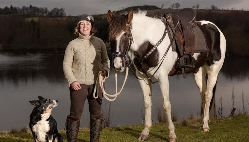 Karen Inkster with her horse Connie and dog Pip.