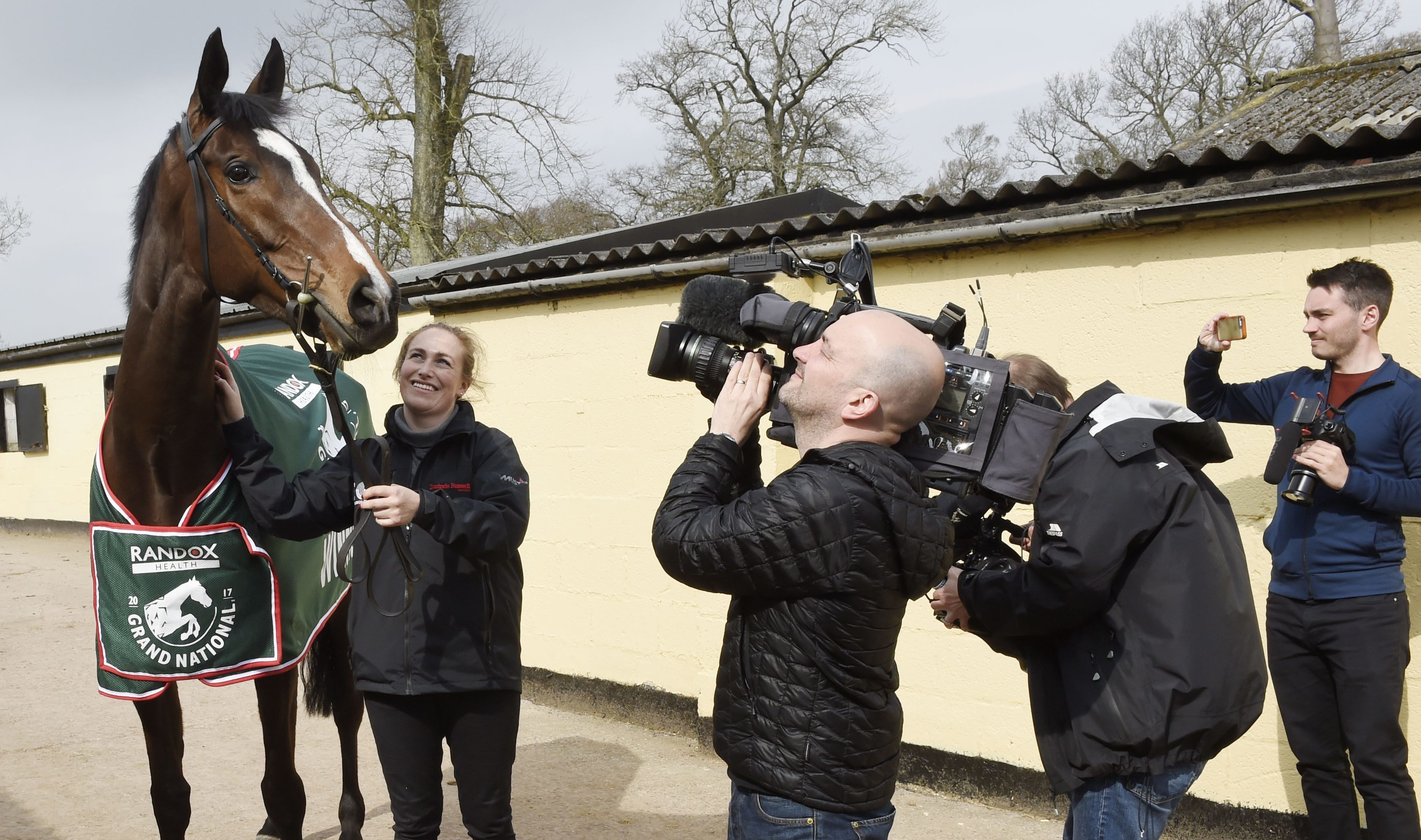 Grand National winner One For Arthur is paraded by stable girl Jaimie Duff at trainer Lucinda Russell's yard.
