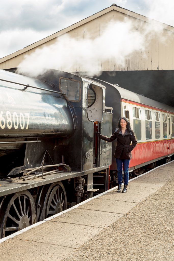 Gayle gets ready to board the steam train.
