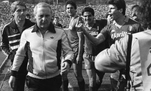 Jim McLean is abused by AS Roma players after Dundee United 3-2 on aggregate to the Italian side in the semi final of the 1984 European Cup