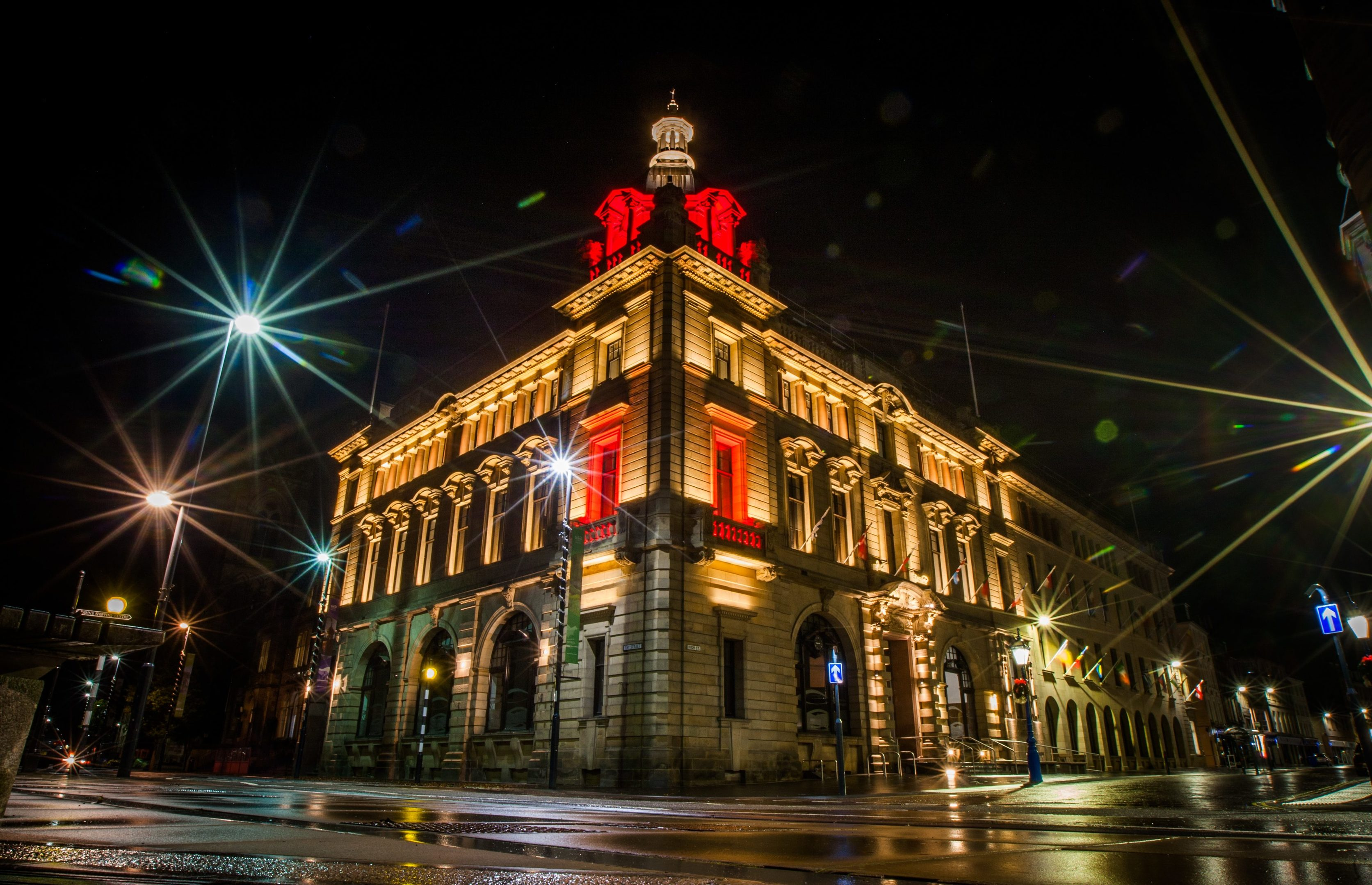 Perth and Kinross Council High Street headquarters lit up.