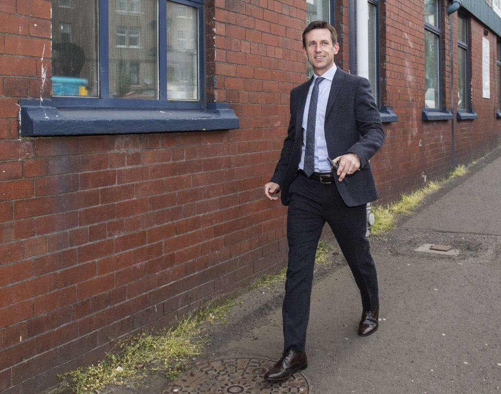 Neil McCann arrives at Dens Park.