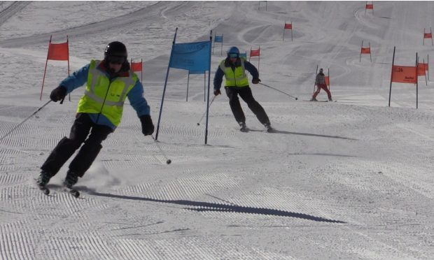 Neil (front) with Billy on the slopes