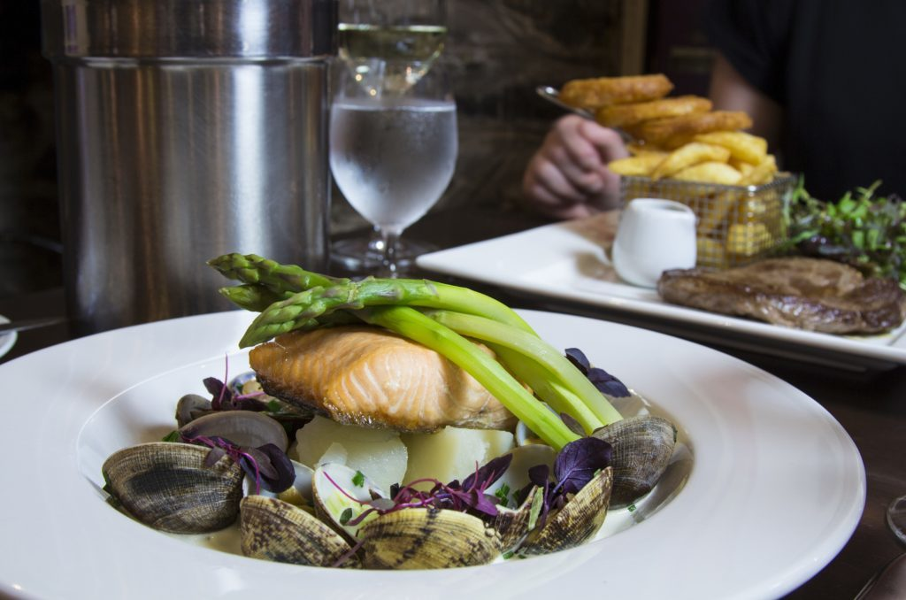 Taynuilt salmon with clams.