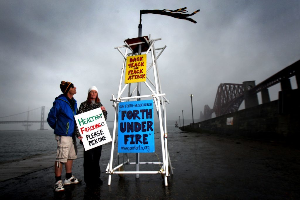 Protestors Audrey Egan from Frack off Fife and Paul Mason from Our Forth, Forth Under Fire.
