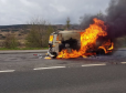 The camper van fire on the A9 north of the House of Bruar.