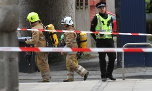 Police and fire personnel at the scene.