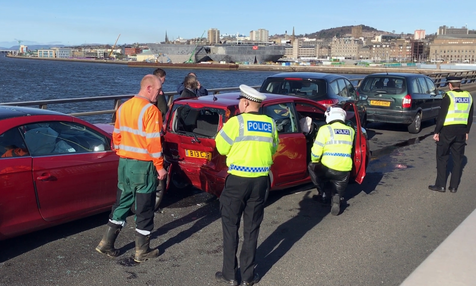 The aftermath of the Tay Road Bridge crash.