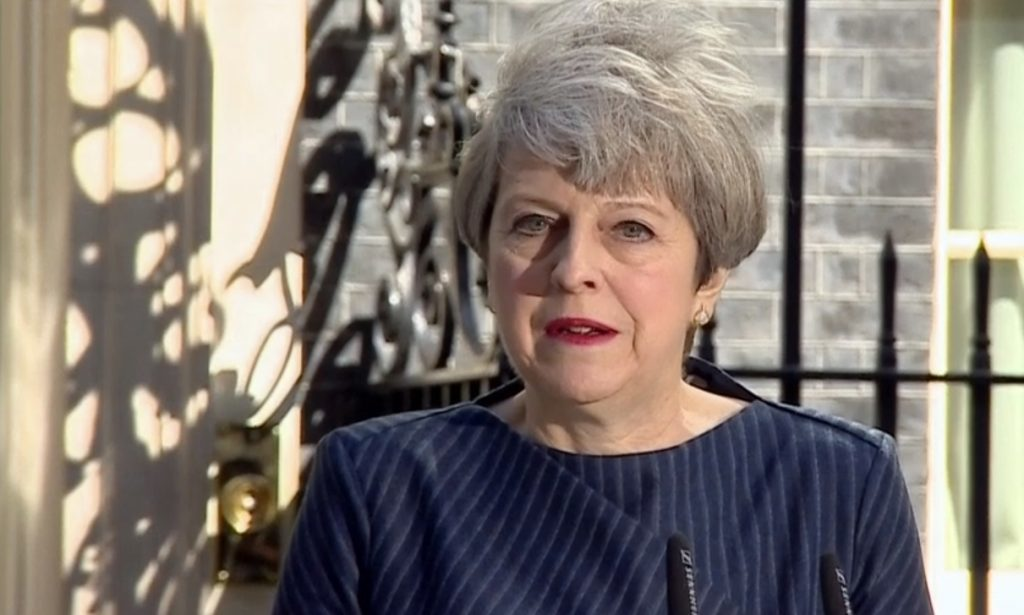 Theresa May announces the early election.