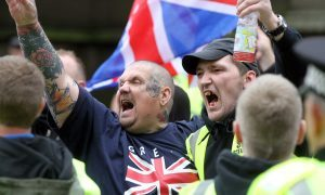 Members of the SDL taunt members of Dundee Together during counter demonstrations in the city centre.