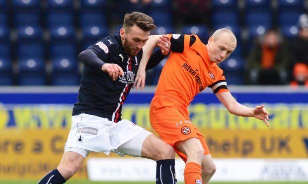 11/02/17 LADBROKES CHAMPIONSHIP FALKIRK v DUNDEE UTD FALKIRK STADIUM Dundee Utd's Willo Flood (L) battles with Falkirk's Lee Miller.