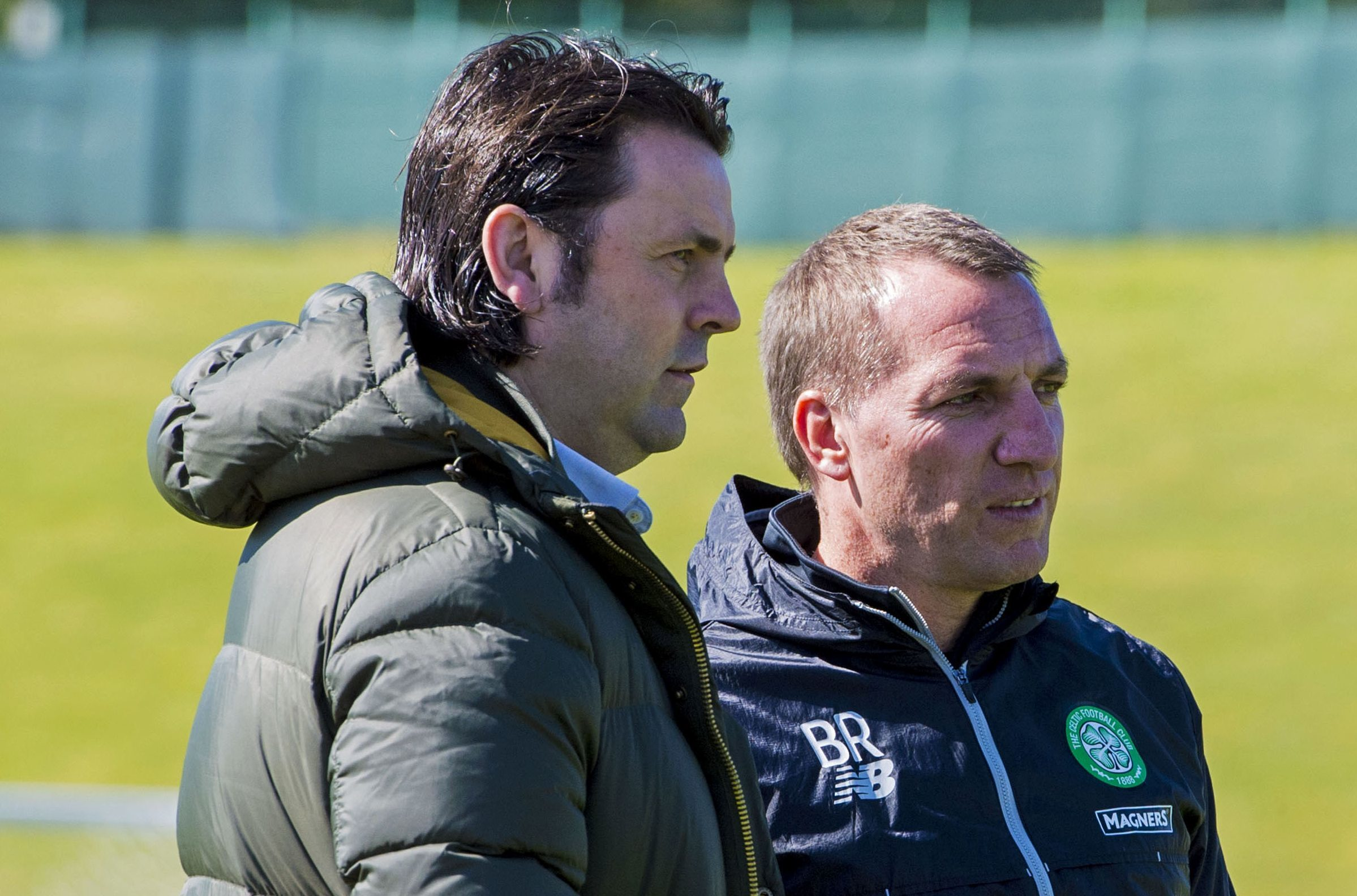 Ex-Dundee manager Paul Hartley speaks with Celtic manager Brendan Rodgers at Lennoxtown.