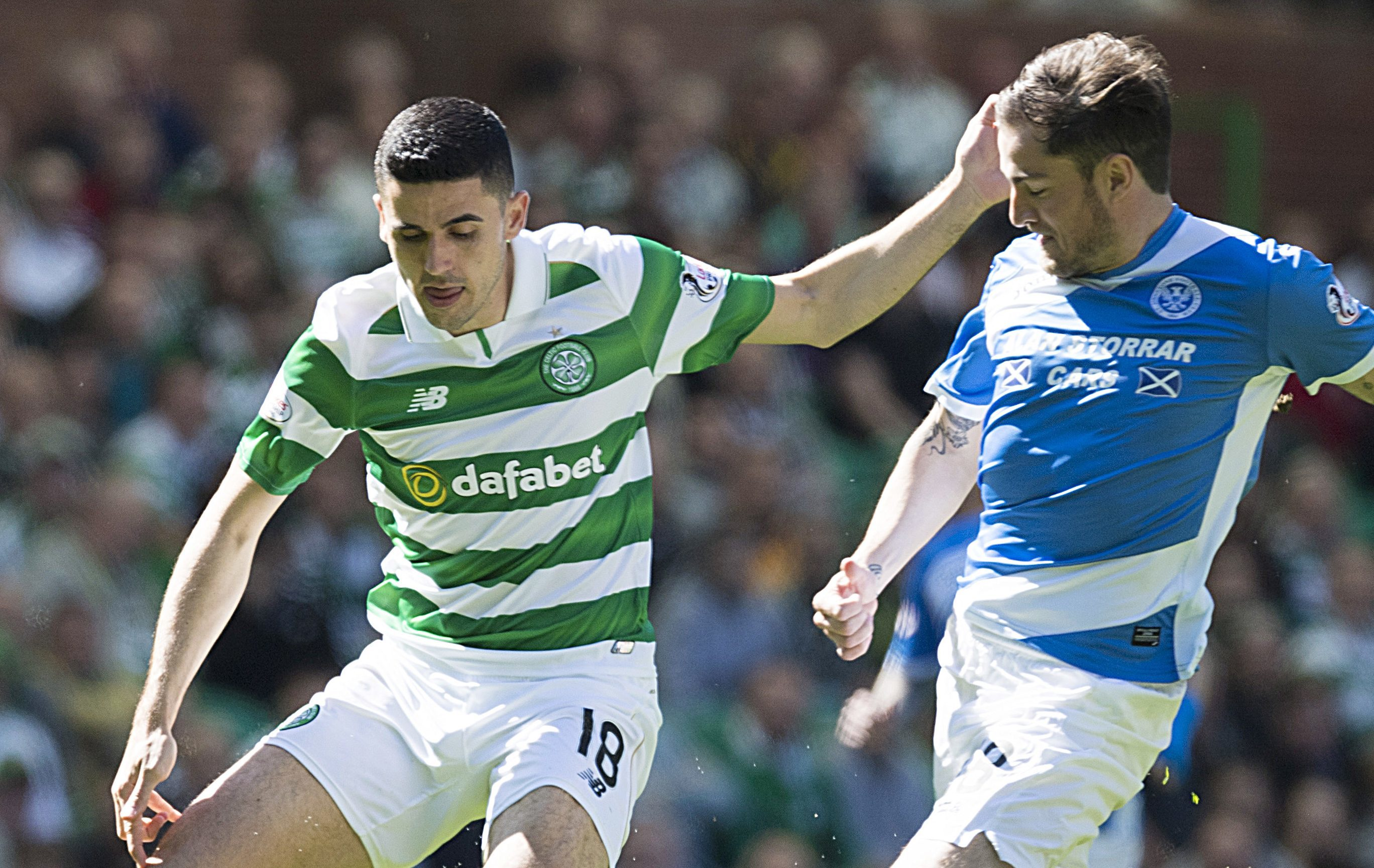Paul Paton in action at Celtic Park.