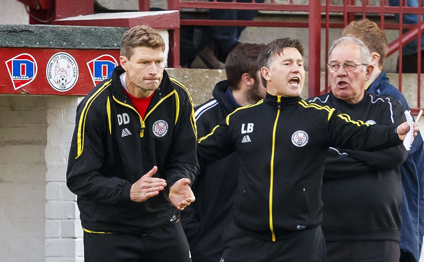 Darren Dods encourages his team in the first leg.