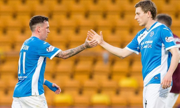 Danny Swanson leaves the pitch for the last time as a St Johnstone player.