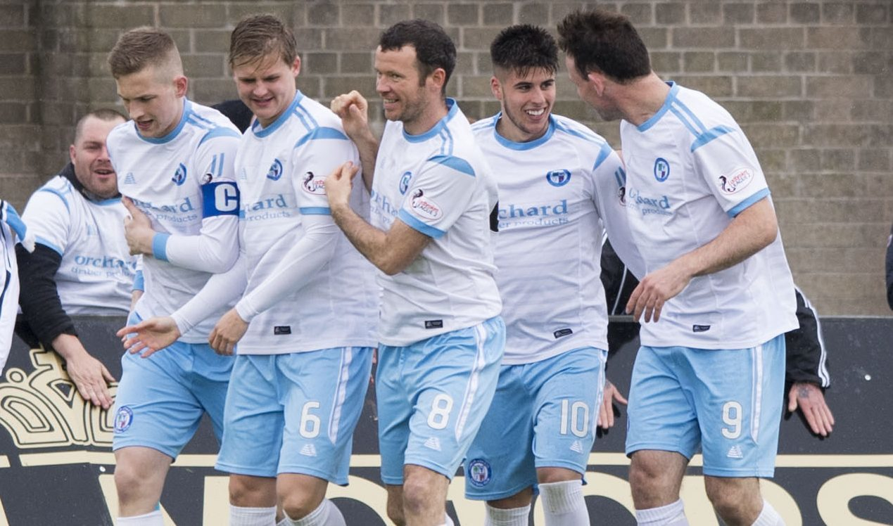 Forfar celebrate one of their goals.