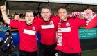 Brechin's Liam Watt, Paul McLean and James Dale at full time.
