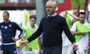 28/05/17 LADBROKES PREMIERSHIP PLAY OFF FINAL 2ND LEG HAMILTON v DUNDEE UNITED THE SUPERSEAL STADIUM - HAMILTON  Dundee United manager Ray McKinnon on the touchline.