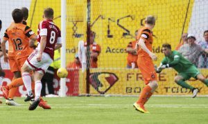 Greg Docherty finds the net to consign United to another season in the Championship.