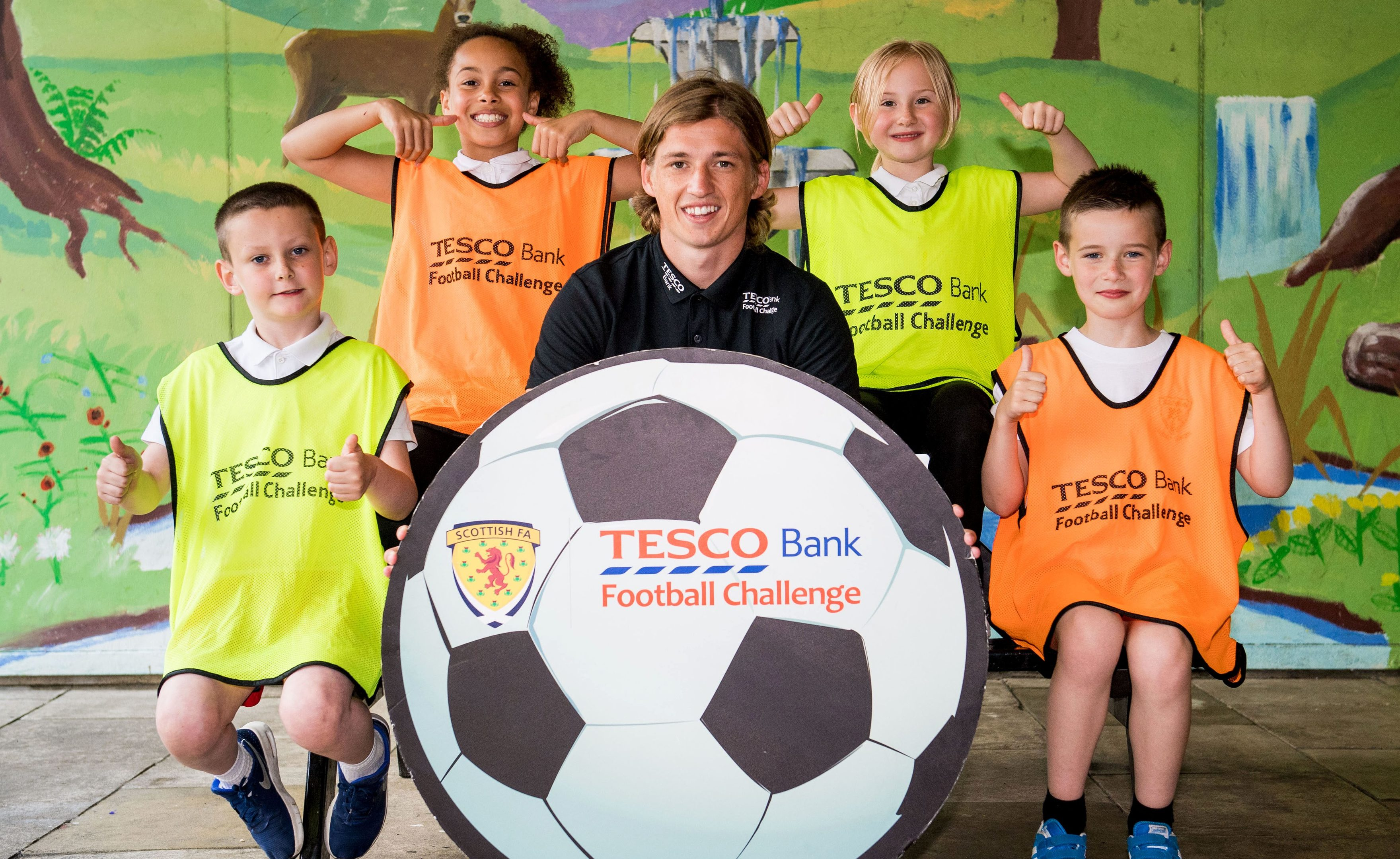 Ryan Gauld at a Tesco Bank Football Challenge event in Cumbernauld.
