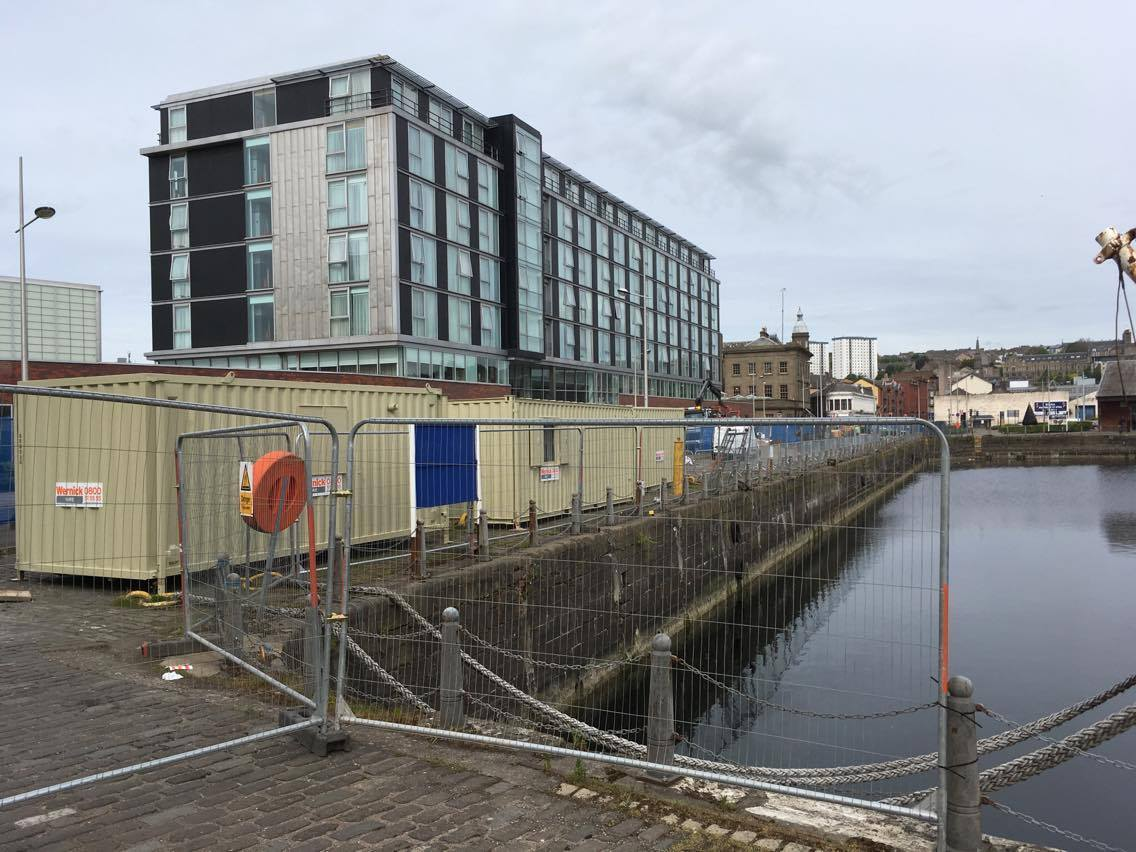 Work is under way on the watersports centre at Dundee's City Quay.