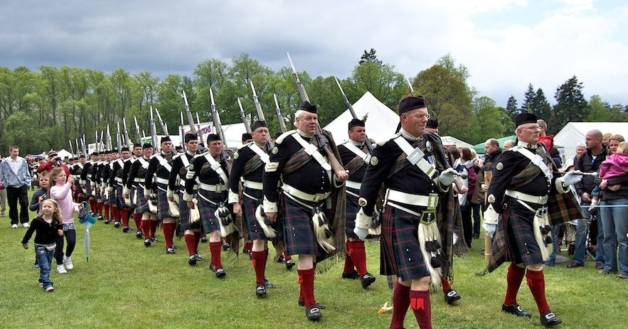The Atholl Highlanders 'March On' at the Atholl Gathering.