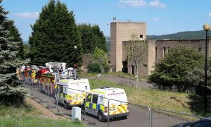 Emergency service crews at the old Norwich Union building off Necessity Brae, Perth.
