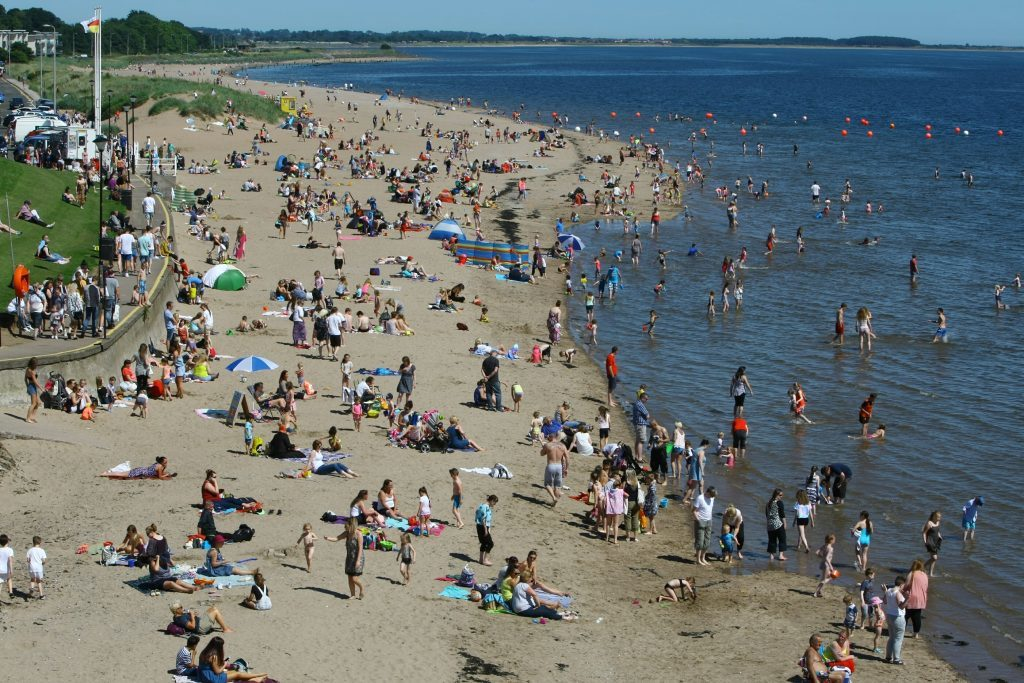 A packed Broughty Ferry beach last July