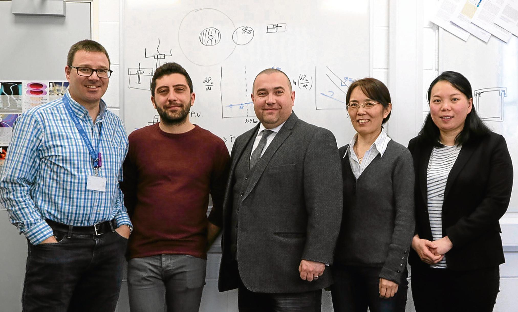 Professor David Bucknall, Luca Pellegrino, Professor Danmei Sun and Dr Meixuan Chen of Heriot Watt University  with Iron Ocean founder Simon Lamont (centre)