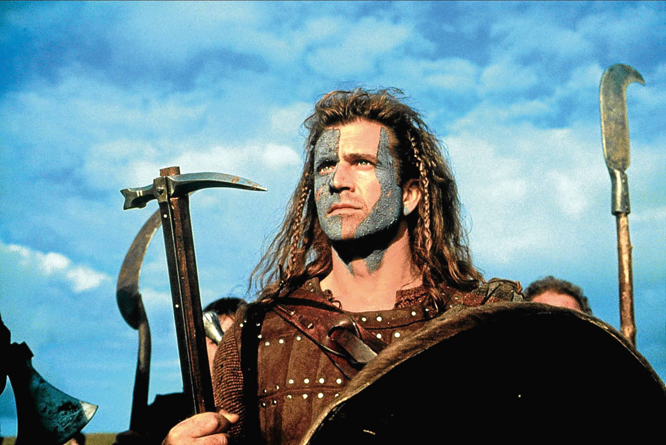 Mel Gibson portrays William Wallace in the 1995 film Braveheart.
