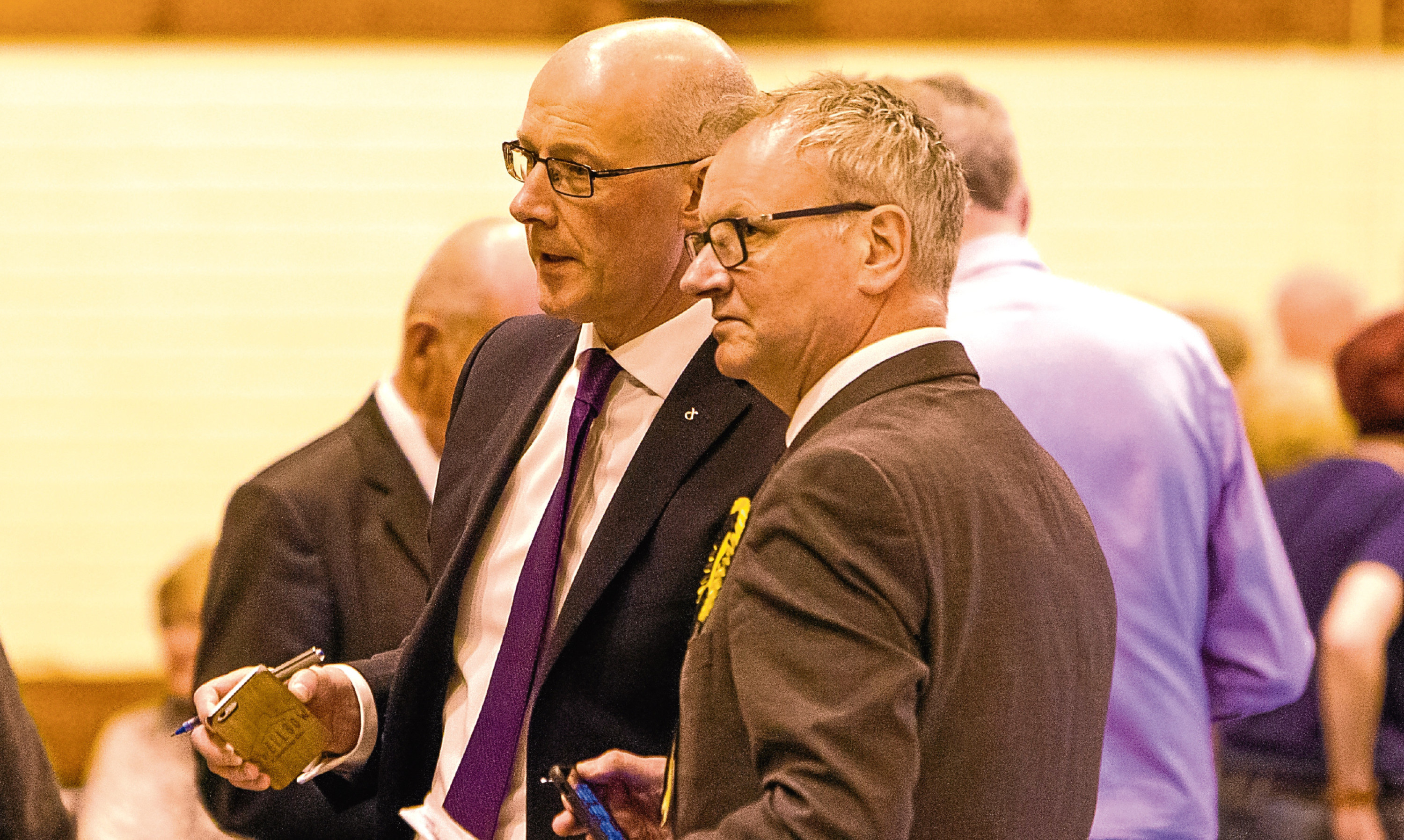 Pete Wishart, right, pictured with John Swinney at the local election count in Perth, is one SNP MP whose seat could be vulnerable in the general election.