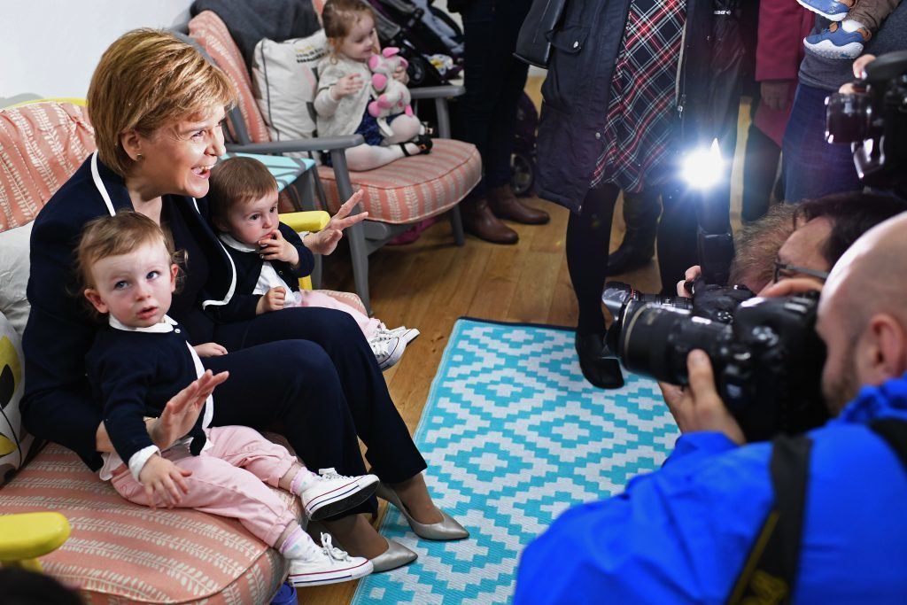 SNP leader Nicola Sturgeon, campaigns in Hamilton with candidate Angela Crawley
