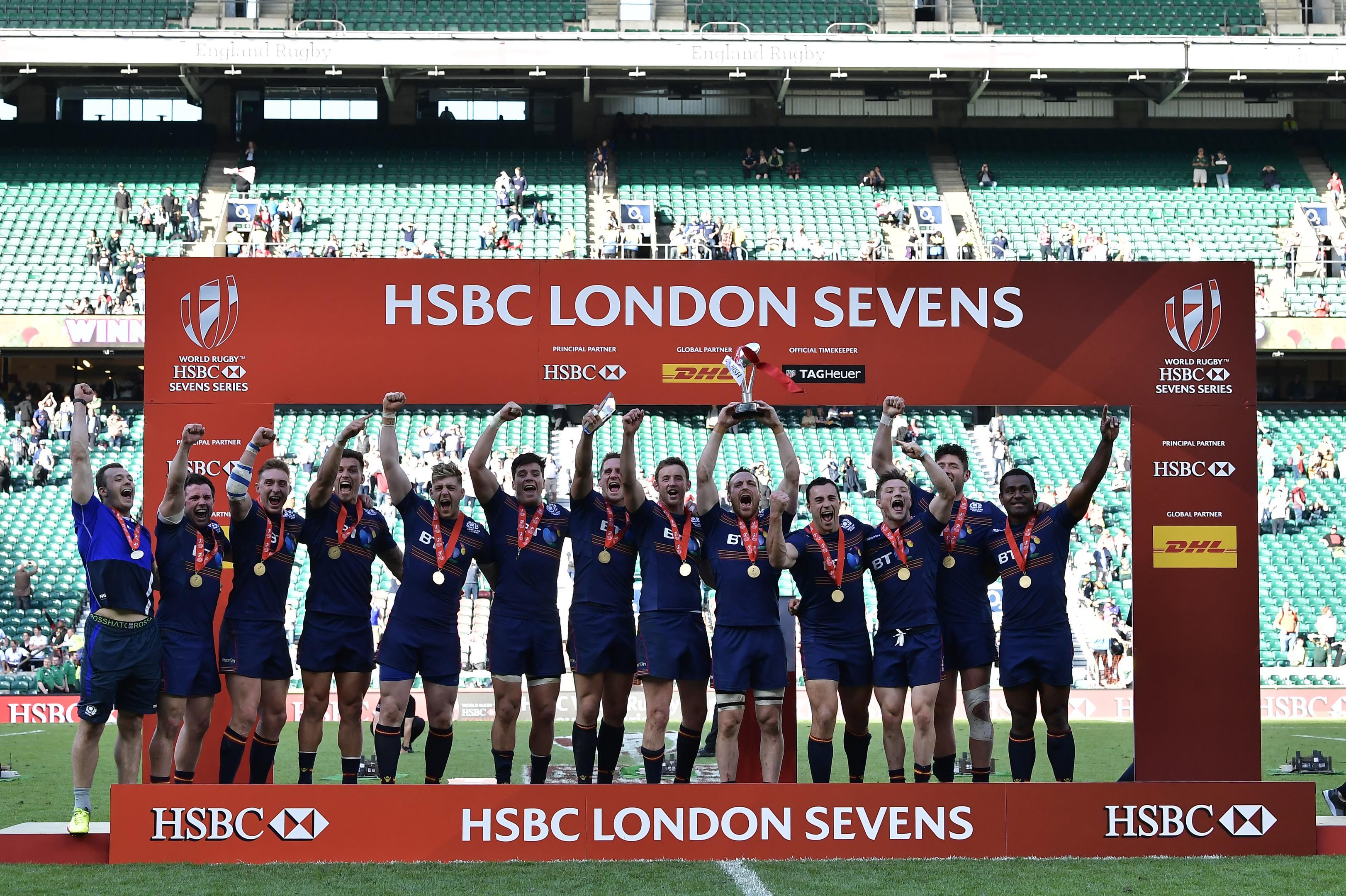 Scotland celebrate after winning the HSBC London Sevens tournament at Twickenham.