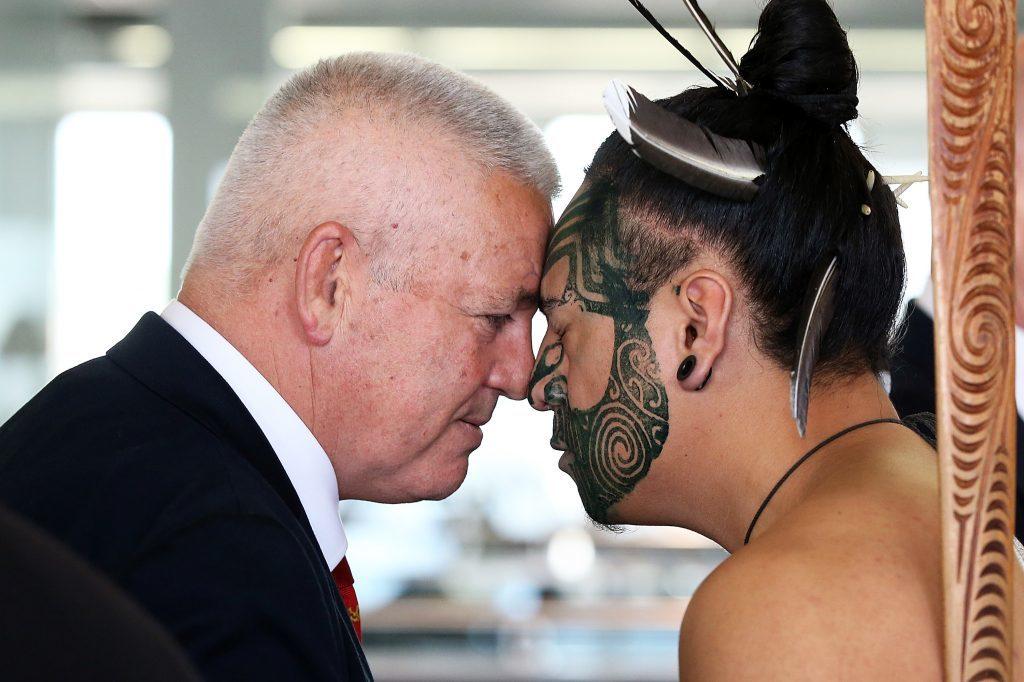 Coach Warrren Gatland receives a hongi in welcome as the team arrives at Auckland International Airport.