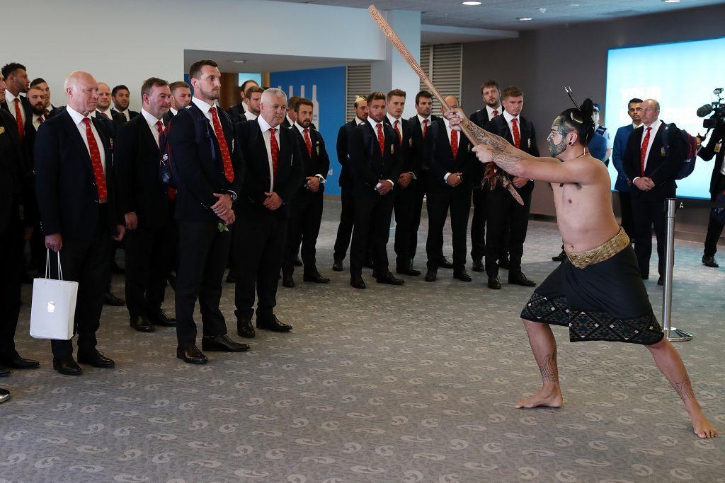 Lions captain Sam Warbuton accepts the Maori challenge as the Lions arrive.