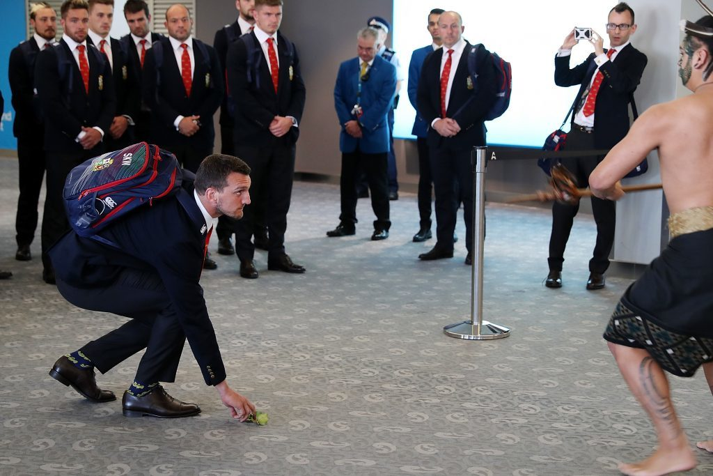Sam Warbuton pictured accepting the Maori challenge as the Lions tour kicks off.
