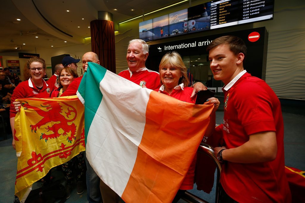 Lions fans welcome the 41-man squad to New Zealand.