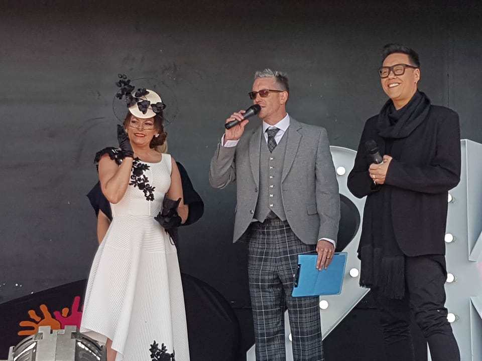 Gillian Wilson, from Ayr, was named best dressed lady. She's pictured on stage with Stuart Webster of Tay FM and Gok Wan.