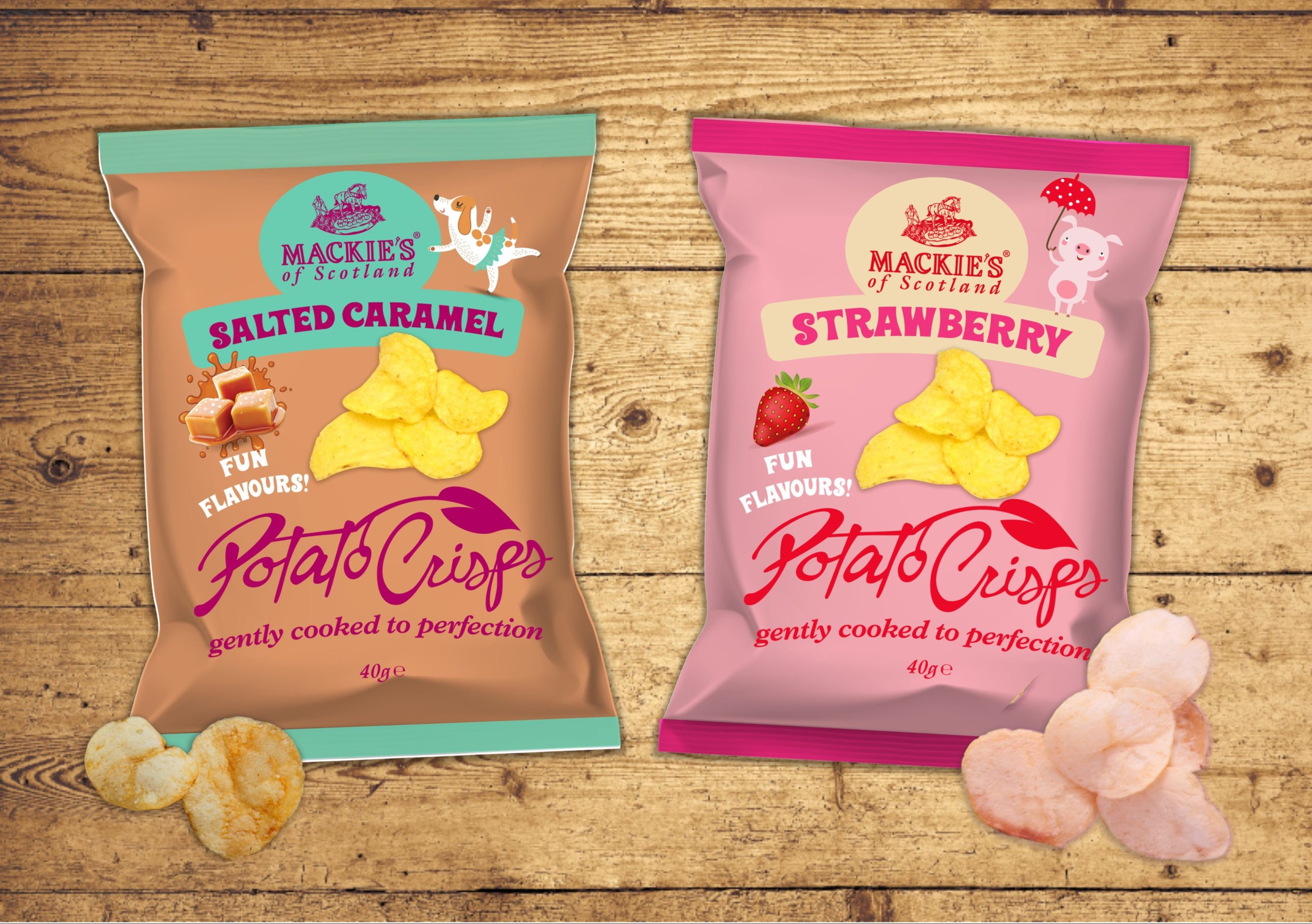 Sweet flavoured crisps from Mackies at Taypack for Chinese market.
